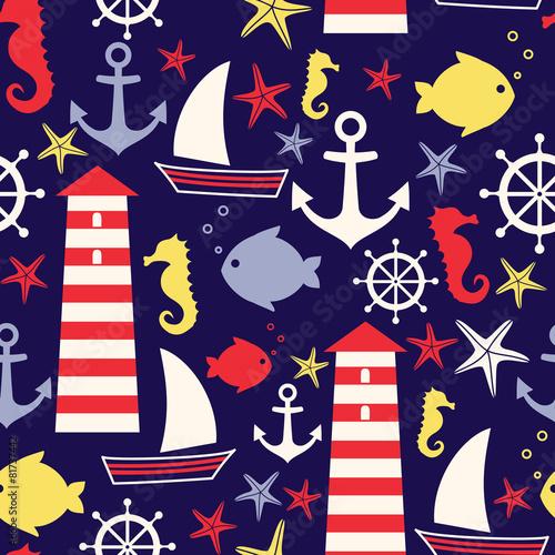 Materiał do szycia Seamless nautical pattern: sailboat, lighthouse, fish, anchor,