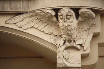 Owl. Art Nouveau building decoration in Prague, Czech Republic.