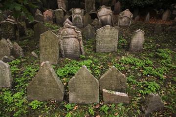 Old Jewish Cemetery in Prague, Czech Republic.