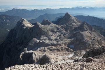 View from Mount Triglav in the Julian Alps, Slovenia.