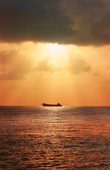 seascape with ship