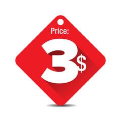 Price tag vector - three dollars