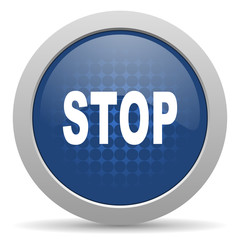 stop blue glossy web icon