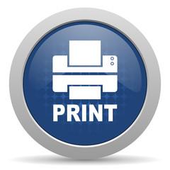 printer blue glossy web icon
