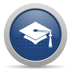 education blue glossy web icon