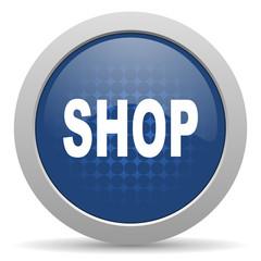 shop blue glossy web icon