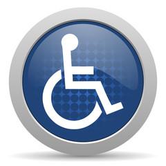 wheelchair blue glossy web icon