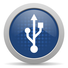 usb blue glossy web icon