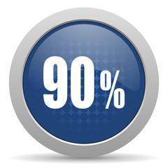 90 percent blue glossy web icon