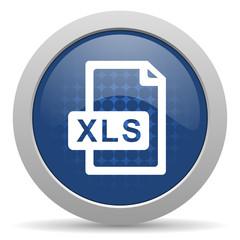 xls file blue glossy web icon