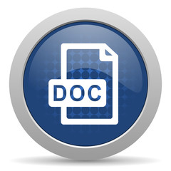 doc file blue glossy web icon