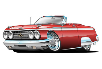 62 Galaxie 500 Convertible Cartoon Illustration