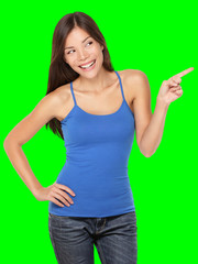 Woman pointing happy isolated