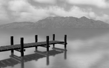 3D black and white landscape with jetty
