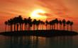 Leinwanddruck Bild - Palm tree island at sunset