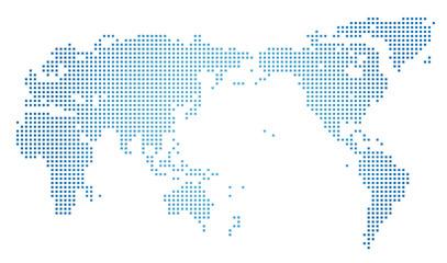 世界地図・ドット素材・四角ドット