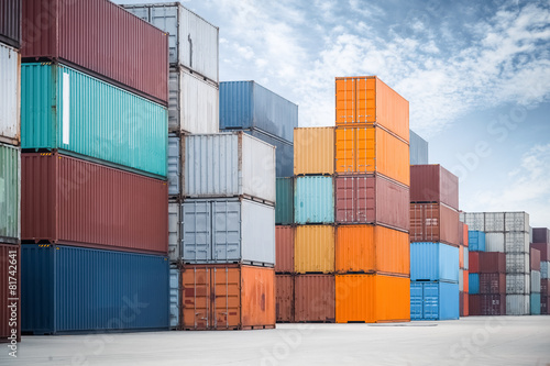container against a blue sky