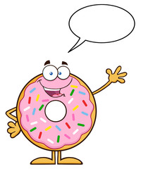 Cute Donut Cartoon Character With Sprinkles Waving
