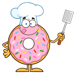 Chef Donut Character With Sprinkles Holding A Slotted Spatula