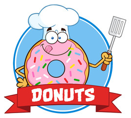 Chef Donut Character With Sprinkles Circle Label With Text