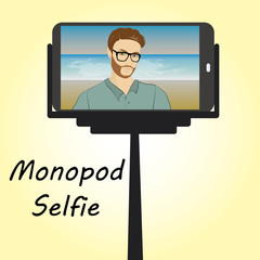 Smart phone. Monopod for selfie.