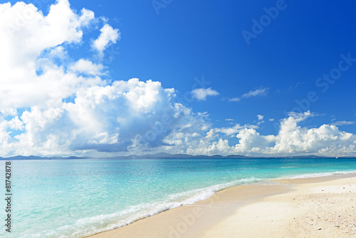 南国沖縄の綺麗な珊瑚の海と夏空 - 81742878