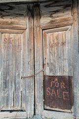 """Old door with handwriten """"for sale"""""""