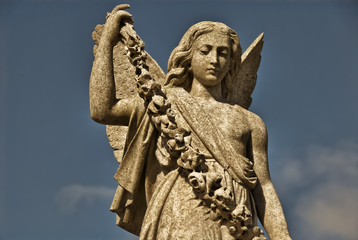 Angel Statue With Garland