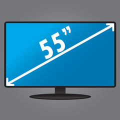 TV, with an index size of the screen, flat design, vector illust