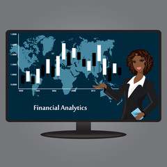 African-American woman on the TV screen, a financial analyst, fl