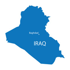 blue map of Iraq with indication of Baghdad