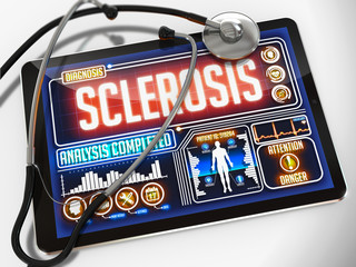 Sclerosis on the Display of Medical Tablet.