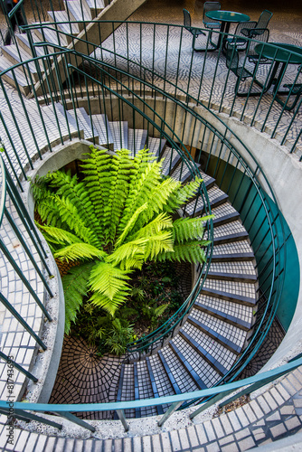 Fotobehang Vuurtoren / Mill Spiral Stair in the building