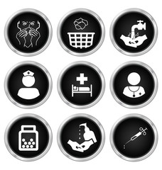 Black and white medical related icon set