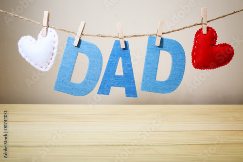 DAD text and felt hearts hanging on a string - 81744051
