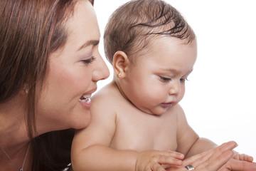 Mamá y bebé felices