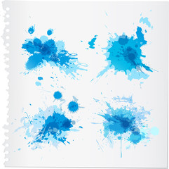 Abstract blue watercolor paint splats