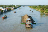 Asia river traffic, Mekong Delta, transport cargo