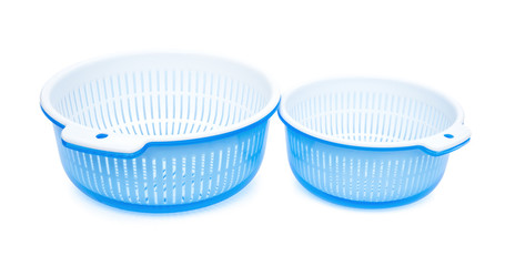 two sets of plastic basket with tub, clipping path included
