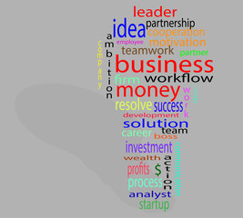Wordcloud business lightbulb colorful