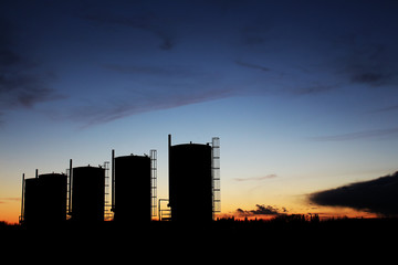 Bitumen Oil Storage Tanks in the Sunset