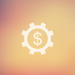 Gear and dollar sign in flat style icon