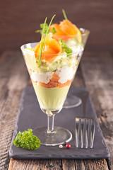 avocado mousse, cream and salmon