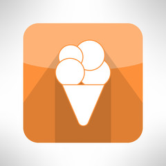Ice cream icon in clean and simple flat design. Dessert sign