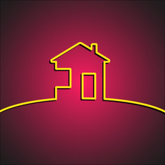 House symbol on stylish red background. Home design element