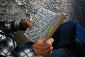 Old Man Reading a Bible