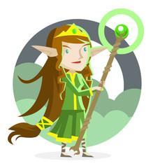 una elfo en el bosque sosteniendo un bastón mágico