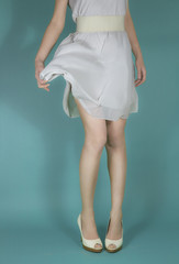 Woman's legs - white dress - Fashion