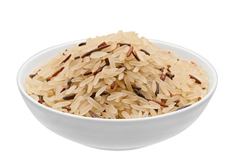 Rice in white plate isolated
