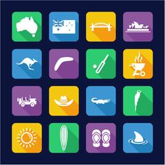Australia Icons Flat Design